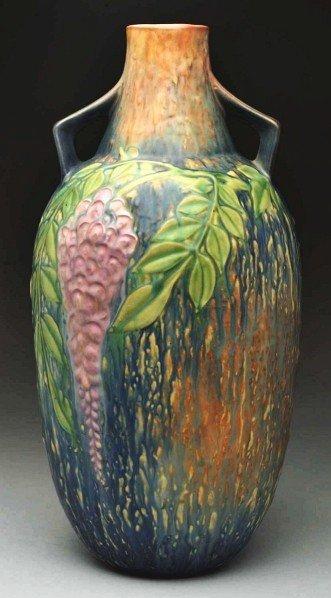 304: Roseville Wisteria Blue Floor Vase.