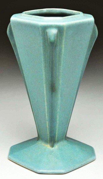 """310: Roseville Futura """"The Blue Cone"""" Vase."""