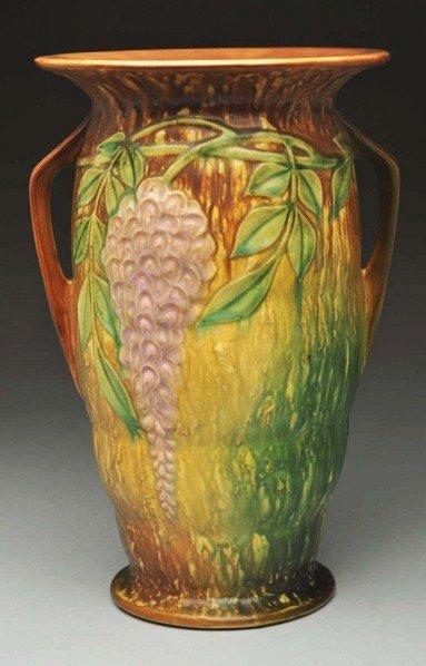 312: Roseville Double Handled Wisteria Vase.