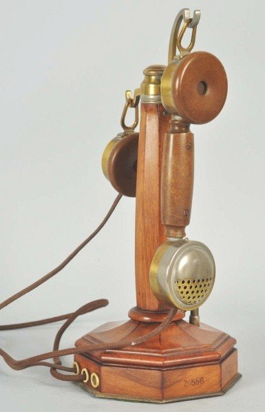 710: Theodet French Wooden Candlestick Telephone.
