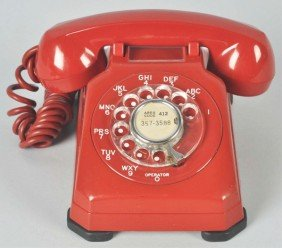 Red Stromberg Carlson 1543 Cradle Telephone.