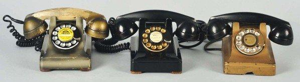 774: Lot of 3: Western Electric Metal 302 Telephones.