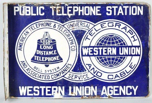 783: Porcelain Public Telephone Western Union Sign.