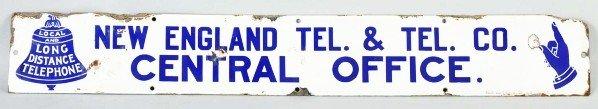 784: Porcelain New England Telephone Co. Sign.