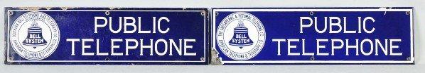 785: Lot of 2: Porcelain Public Telephone Signs.