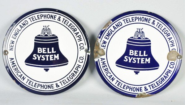 786: Lot of 2: Porcelain New England Bell System Signs