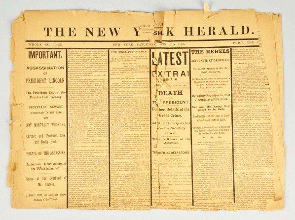 1059: Abraham Lincoln Assassination Newspaper.