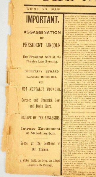 1059: Abraham Lincoln Assassination Newspaper. - 2