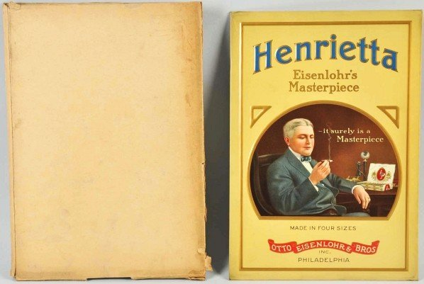 4: Embossed Tin Henrietta Cigars Sign.