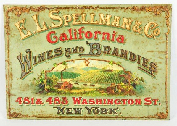 6: Embossed Tin Sign for Spellman, CA Wines.