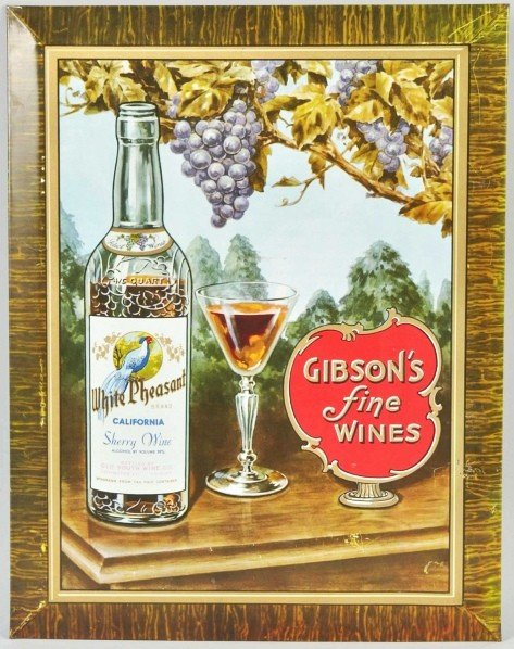 7: Tin Gibson's Fine Wines Sign.