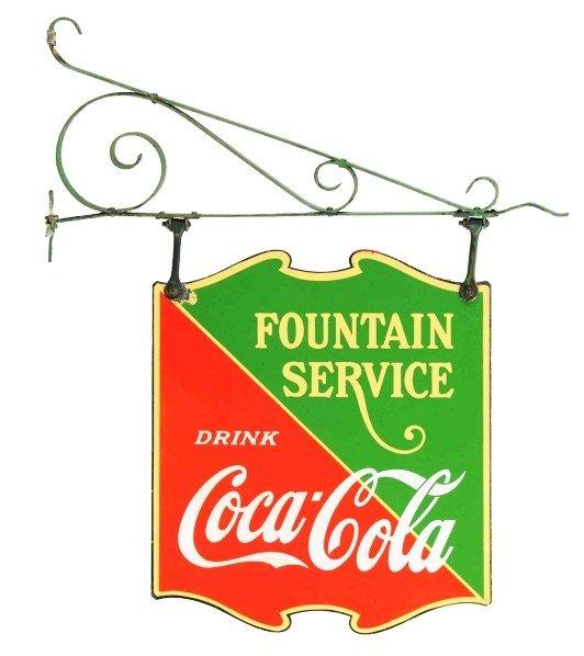 19: Porcelain Coca-Cola Fountain Service Sign.