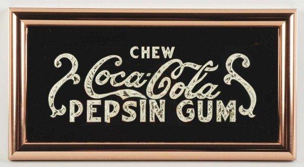 20: Reverse on Glass Coca-Cola Pepsin Gum Sign.