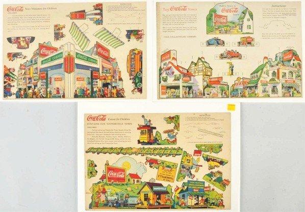 173: Lot of 3: Cardboard Coca-Cola Children's Cutouts.