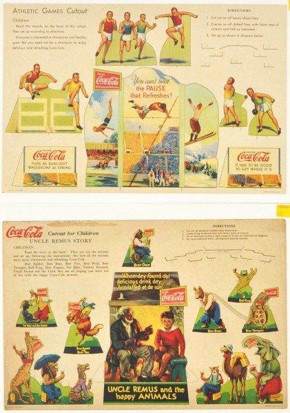 174: Lot of 2: Cardboard Coca-Cola Children's Cutouts.