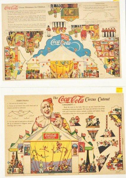 175: Lot of 2: Coca-Cola Miniature Circus Cutouts.