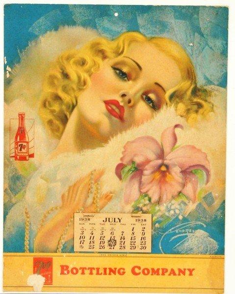 176: Unusual 1938 7up Calendar.