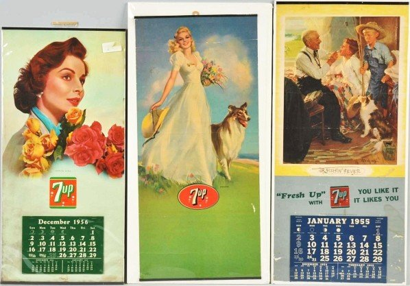 177: Lot of 3: Assorted 1950s 7up Calendars.
