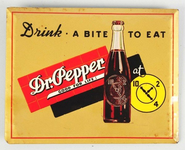 179: Celluloid Over Tin Dr. Pepper Sign.