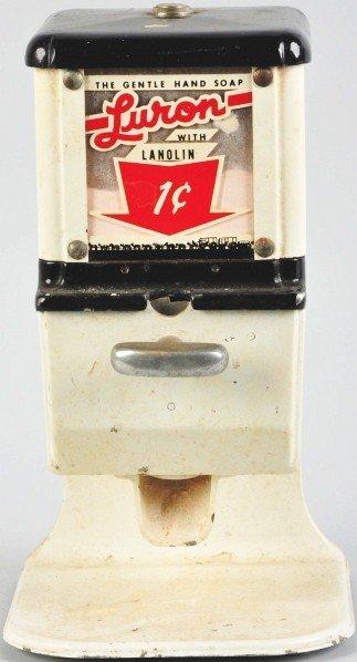 189: Porcelain Luron 1¢ Coin-Op Soap Dispenser.