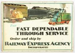 367 Tin Over Cardboard Railway Express Sign