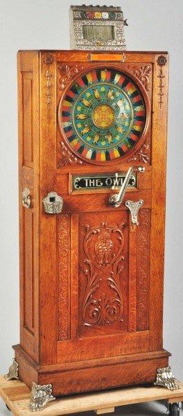 408: Mills 5¢ Owl Upright Slot Machine.