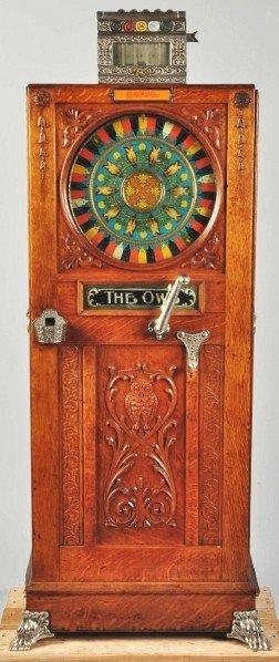408: Mills 5¢ Owl Upright Slot Machine. - 2