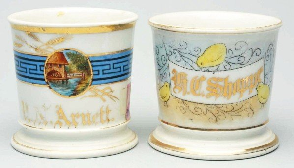 45: Lot of 2: Scenic Shaving Mugs.