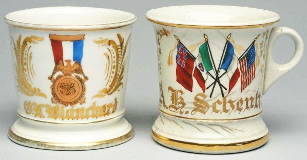 46: Lot of 2: Fraternal and Flag Shaving Mugs.