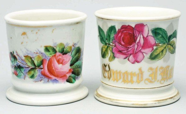 107: Lot of 2: Floral Shaving Mugs.
