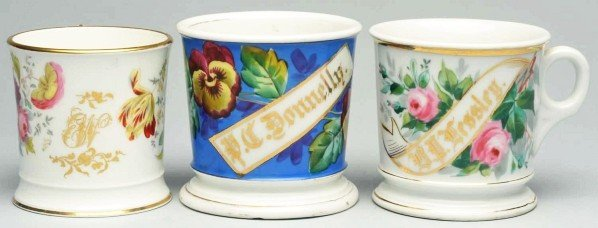 113: Lot of 3: Floral Shaving Mugs.
