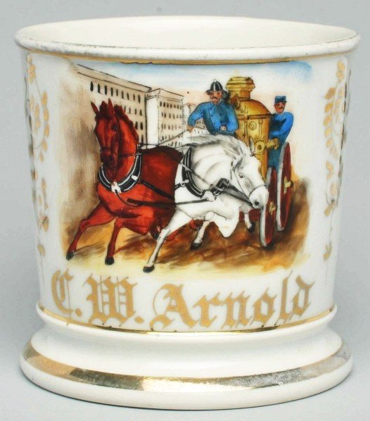 115: Horse-Drawn Fire Pumper Shaving Mug.