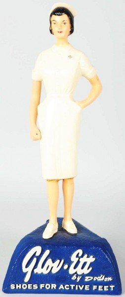 602: Hard Rubber Glov Ette Nurse Advertising Figure.