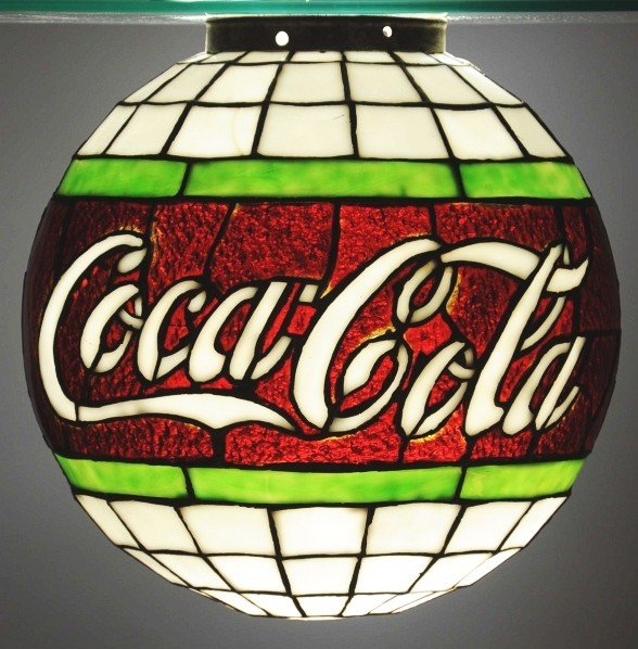 952: Rare Leaded Glass Coca-Cola Hanging Globe.
