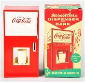953: Coca-Cola Miniature Dispenser & Savings Bank Toy.