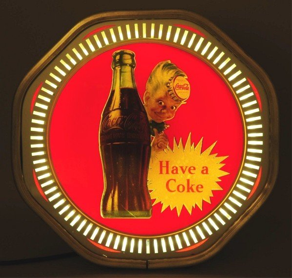 995: Extremely Rare Coca-Cola Light-Up Spinner Sign. - 2