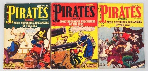 56: Lot of 3: 1950 Pirate Comics.