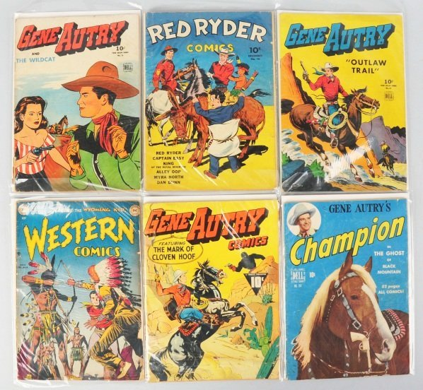 98: Lot of 6: 1950s Gene Autry Comic Books.