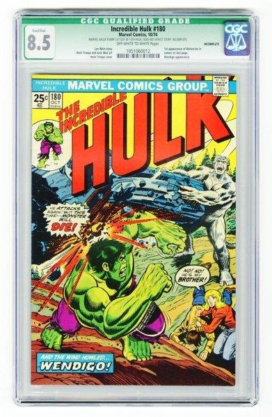 99: Incredible Hulk #180 CGC 8.5 Marvel Comics 10/74.
