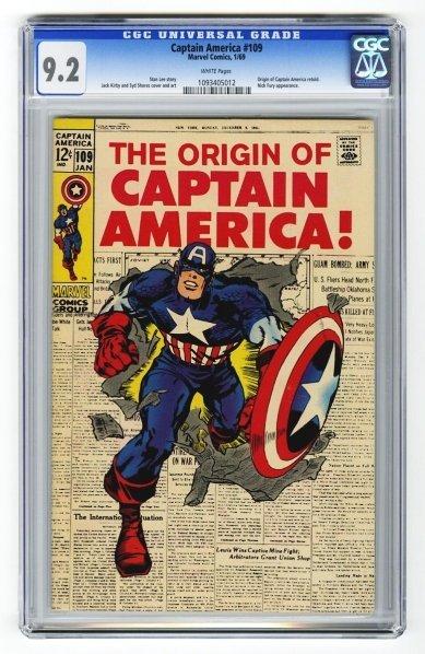 154: Captain America #109 CGC 9.2 Marvel Comics 1/69.