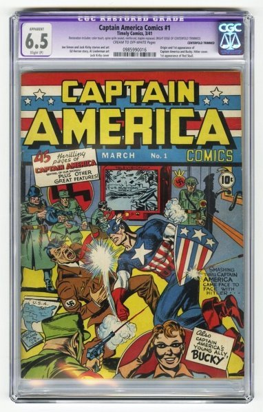 156: Captain America Comics #1 CGC 6.5 Timely Comics.