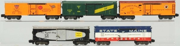 6: Lot of 5: American Flyer S-Gauge Train Boxcars.