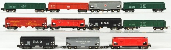 9: Lot of 11: American Flyer S-Gauge Freight Cars.