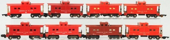 10: Lot of 8: American Flyer S-Gauge Cabooses.