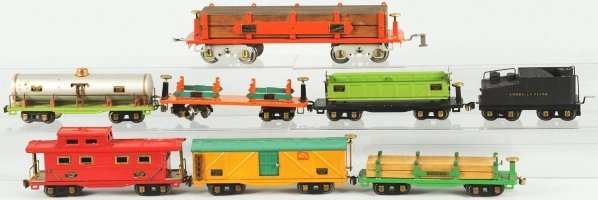 63: Lot of 8: American Flyer Train Cars.