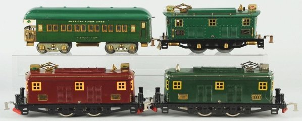 64: Lot of 4: American Flyer Train Engines & Cars.