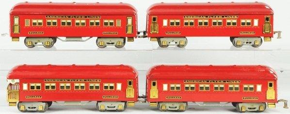 68: Lot of 4: American Flyer Passenger Train Cars.