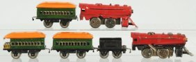Lot Of 6: Tin Litho Joy Line Train Items.