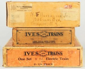 Lot Of 3: Ives Train Boxes.