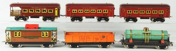 106: Lot of 6: Dorfan Passenger & Freight Train Cars.